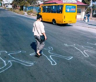 """Одесситы нарисовали зебру из """"сбитых пешеходов"""""""