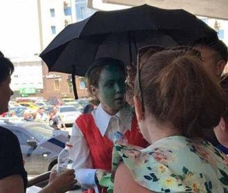 Королевскую облили зеленкой в Одессе